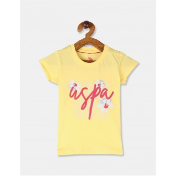 U.S. Polo Assn. Girls Yellow Printed Cotton Jersey T-Shirt