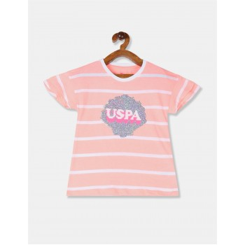 U.S. Polo Assn. Girls Pink Sequin Embellished Striped T-Shirt