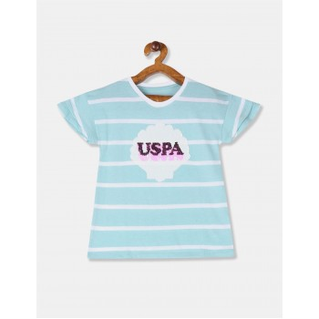 U.S. Polo Assn. Girls Blue Flippy Sequin Striped Top