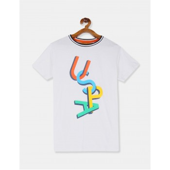 U.S. Polo Assn. Boys White Brand Print Crew Neck T-Shirt