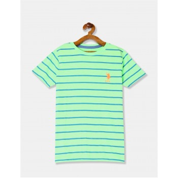 U.S. Polo Assn. Boys Green Horizontal Stripe Crew Neck T-Shirt