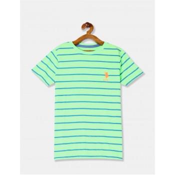 U.S. Polo Assn. Boys Green Horizontal Stripe Crew Neck T-Shirt