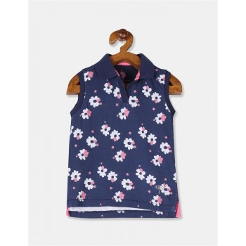 U.S. Polo Assn. Girls Blue Floral Print Sleeveless Polo Shirt