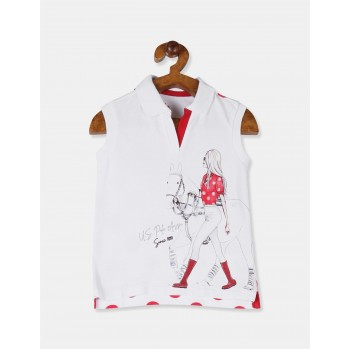 U.S. Polo Assn. Girls White Printed Sleeveless Polo Shirt