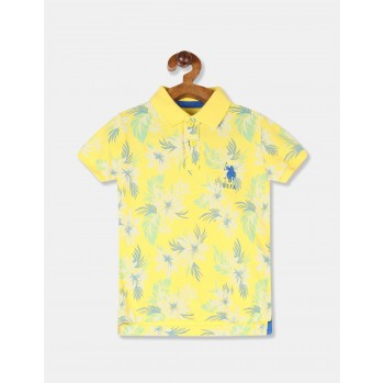 U.S. Polo Assn. Boys Yellow Printed Cotton Pique Polo Shirt