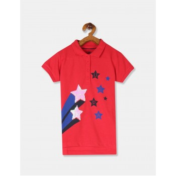 U.S. Polo Assn. Girls Red Star Embellished Pique Polo Shirt