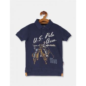 U.S. Polo Assn. Boys Blue Front Print Pique Polo Shirt