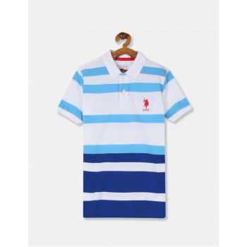 U.S. Polo Assn. Boys White And Blue Striped Pique Polo Shirt
