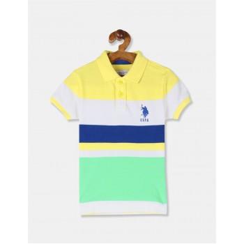 U.S. Polo Assn. Boys Multi Colour Striped Pique Polo Shirt