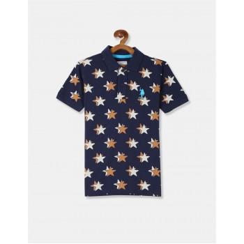U.S. Polo Assn. Boys Blue Star Print Pique Polo Shirt