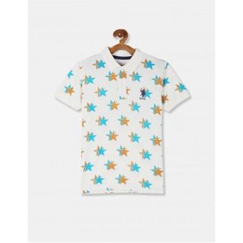 U.S. Polo Assn. Boys White Star Print Pique Polo Shirt