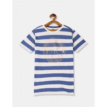 U.S. Polo Assn. Boys Blue And Light Grey Striped Cotton T-Shirt
