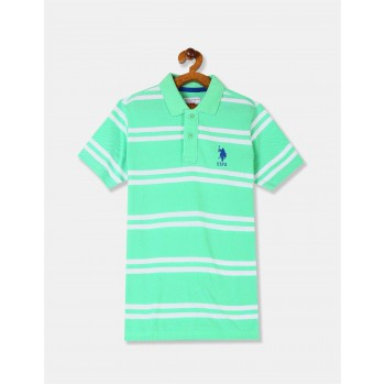 U.S. Polo Assn. Boys Green Striped Pique Polo Shirt