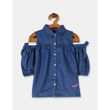 U.S. Polo Assn. Girls Blue Cold Shoulder Chambray Top