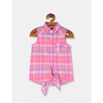 U.S. Polo Assn. Girls Pink Tie Up Hem Check Shirt