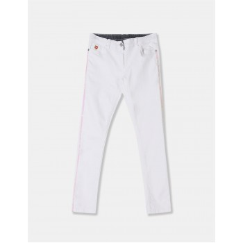 U.S. Polo Assn. Girls White Sequin Taping Mid Rise Jeans