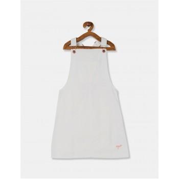 U.S. Polo Assn. Girls White Denim Dungaree Dress