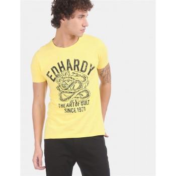 Ed Hardy Men Casual Wear Yellow T-Shirt