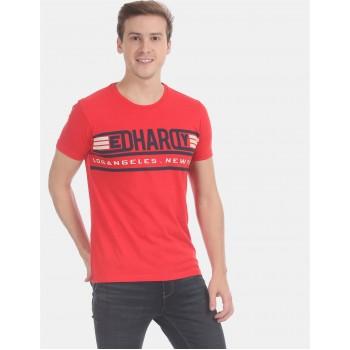 Ed Hardy Men Casual Wear Red T-Shirt