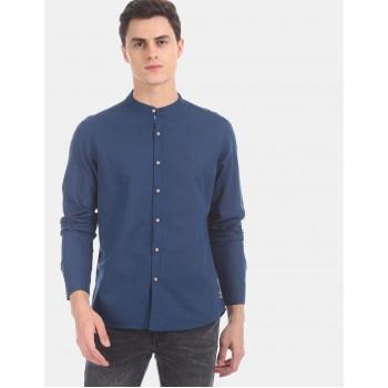 Flying Machine Men Casual Wear Blue Shirt