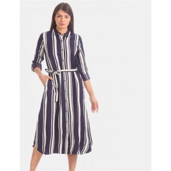 U.S. Polo Assn. Women Blue Vertical Stripe Shirt Dress