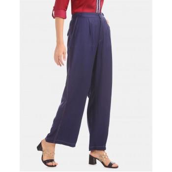 U.S. Polo Assn. Women Blue Mid Rise Wide Leg Pants