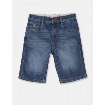 U.S. Polo Assn. Boys Blue Stone Wash Denim Shorts