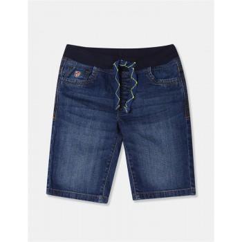 U.S. Polo Assn. Boys Blue Drawstring Waist Washed Denim Shorts