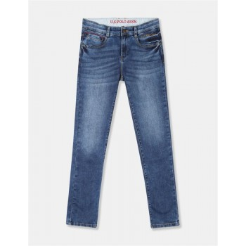 U.S. Polo Assn. Boys Blue Cotton Stretch Faded Jeans