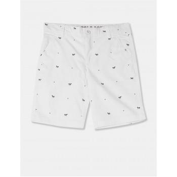 U.S. Polo Assn. Boys White Allover Horse Print Cotton Stretch Shorts