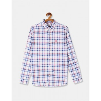 U.S. Polo Assn. Boys White And Blue Button Down Collar Check Shirt