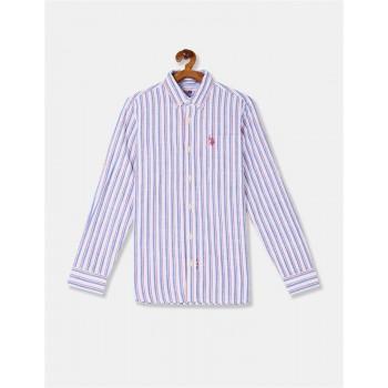 U.S. Polo Assn. Boys White And Blue Button Down Collar Vertical Stripe Shirt