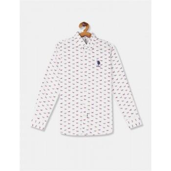 U.S. Polo Assn. Boys White Button Down Printed Shirt