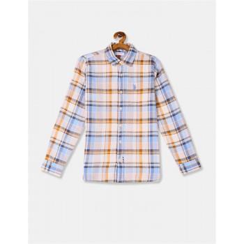 U.S. Polo Assn. Boys Beige And Blue Spread Collar Check Shirt