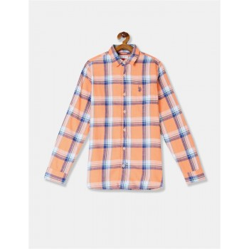 U.S. Polo Assn. Boys Orange Spread Collar Check Shirt