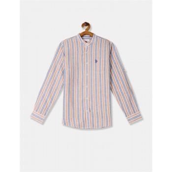 U.S. Polo Assn. Boys Brown And Blue Mandarin Collar Vertical Stripe Shirt