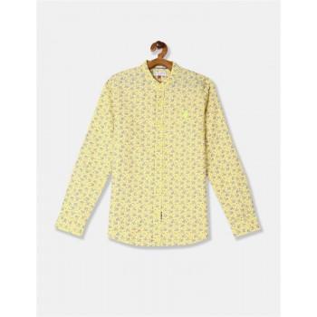 U.S. Polo Assn. Boys Yellow Mandarin Collar Floral Print Shirt