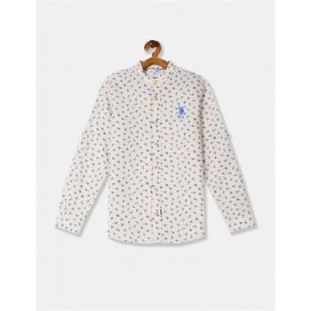 U.S. Polo Assn. Boys Beige Mandarin Collar Floral Print Shirt