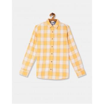 U.S. Polo Assn. Boys Yellow Spread Collar Check Shirt