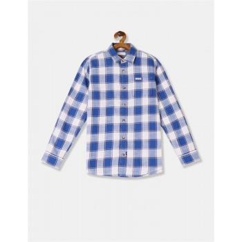 U.S. Polo Assn. Boys Blue Spread Collar Check Shirt