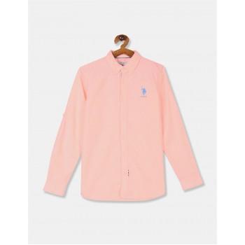 U.S. Polo Assn. Boys Orange Button Down Collar Solid Shirt