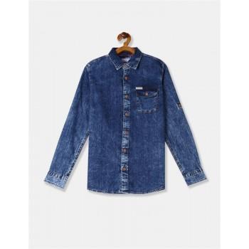 U.S. Polo Assn. Boys Blue Spread Collar Washed Shirt