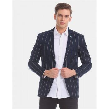 Arrow Sports Men Casual Wear Navy Blue Single Breasted Blazer