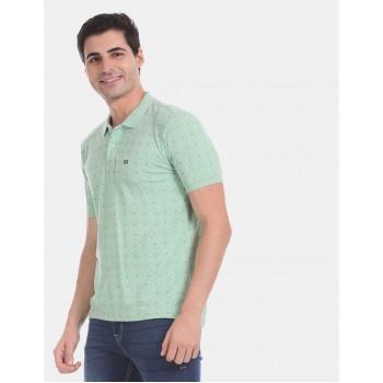 Arrow Sports Men Casual Wear Green T-Shirt