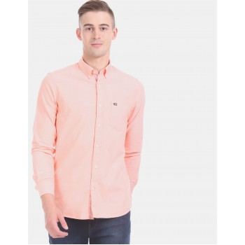 Arrow Sports Men Casual Wear Peach Shirt