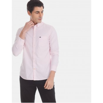 Arrow Sports Men Casual Wear Pink Shirt