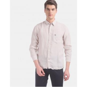 Arrow Sports Men Casual Wear Beige Shirt