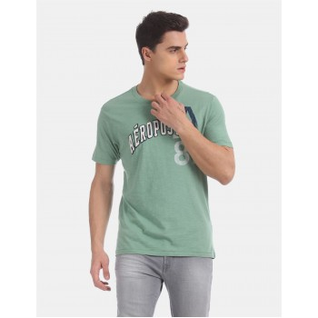 Aeropostale Men Casual Wear Green T-Shirt