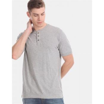 Aeropostale Men Casual Wear Grey T-Shirt