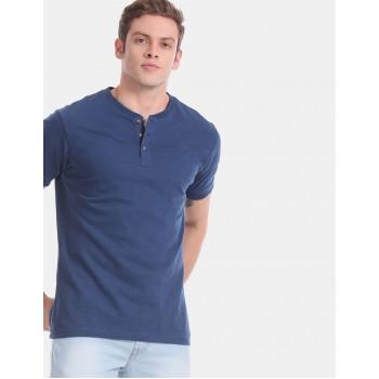 Aeropostale Men Casual Wear Blue T-Shirt